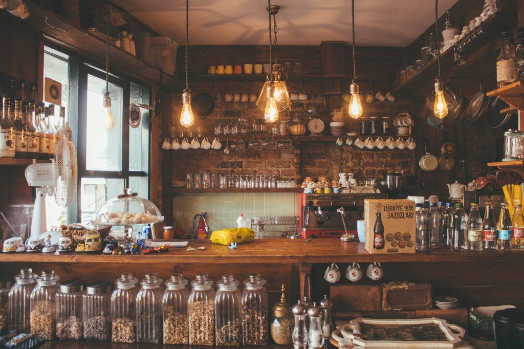 lighted pendant lights inside bar